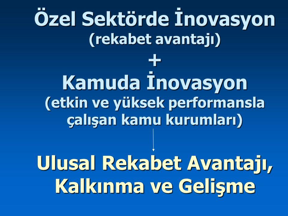 Özel Sektörde İnovasyon (rekabet avantajı) + Kamuda İnovasyon (etkin ve yüksek performansla çalışan kamu kurumları) Ulusal Rekabet Avantajı, Kalkınma ve Gelişme