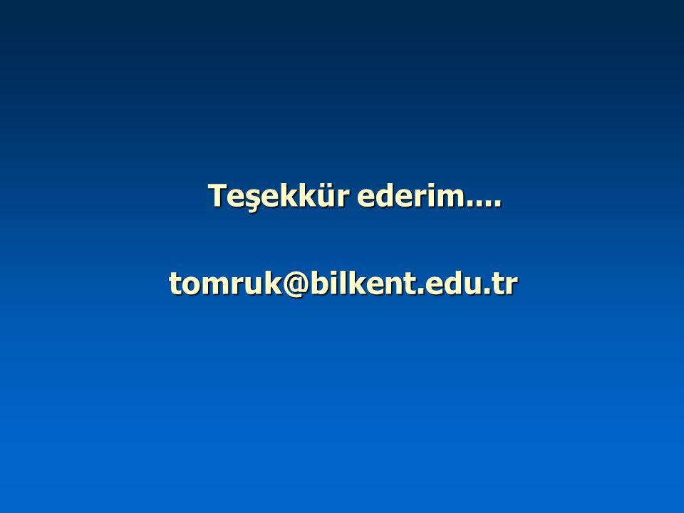 Teşekkür ederim.... tomruk@bilkent.edu.tr