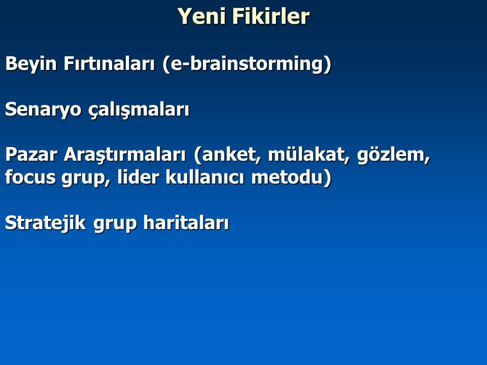 Yeni Fikirler Beyin Fırtınaları (e-brainstorming) Senaryo çalışmaları