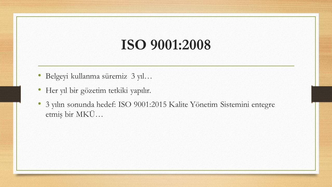 ISO 9001:2008 Belgeyi kullanma süremiz 3 yıl…