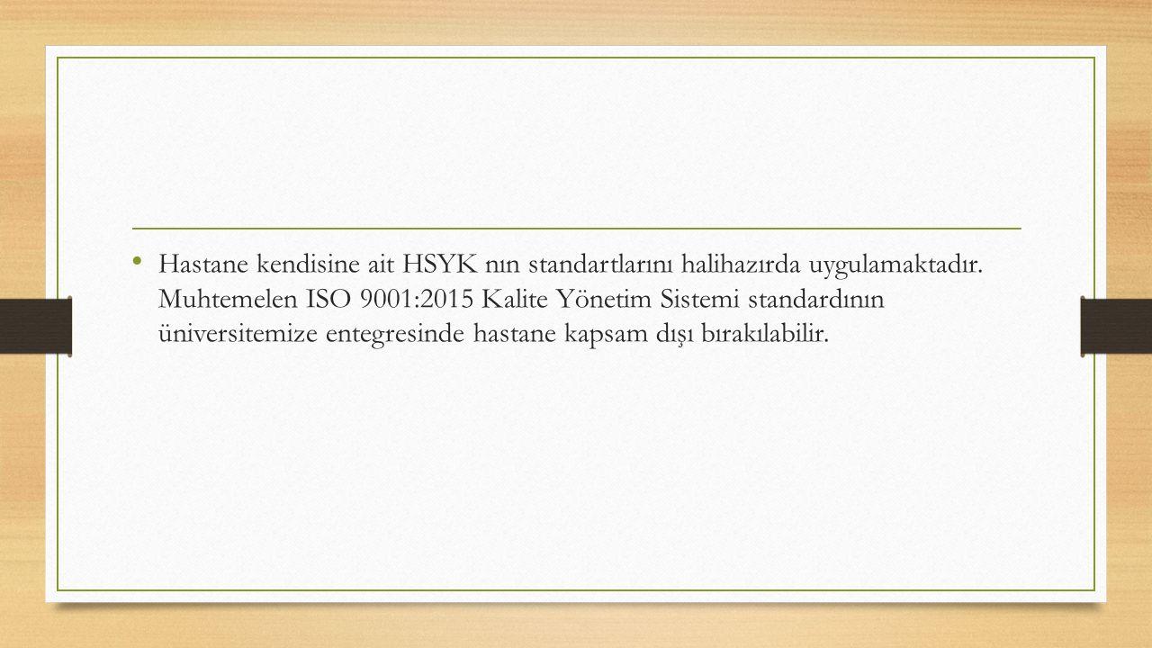Hastane kendisine ait HSYK nın standartlarını halihazırda uygulamaktadır.