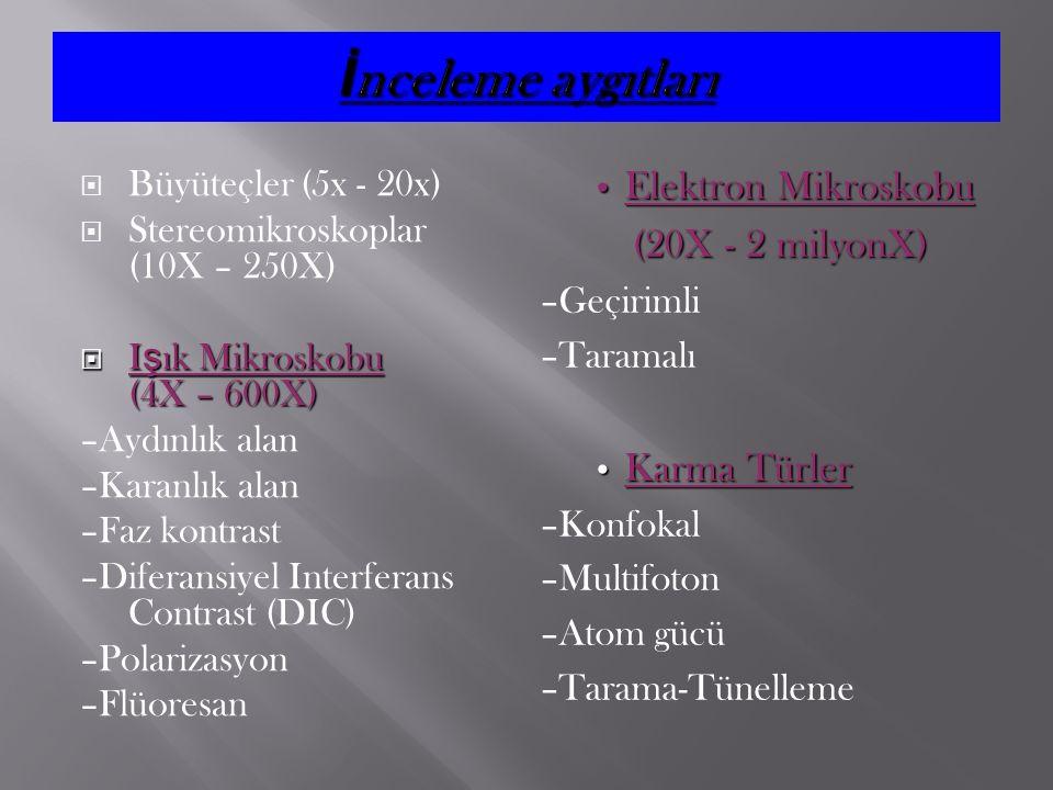 İnceleme aygıtları Elektron Mikroskobu (20X - 2 milyonX) Karma Türler