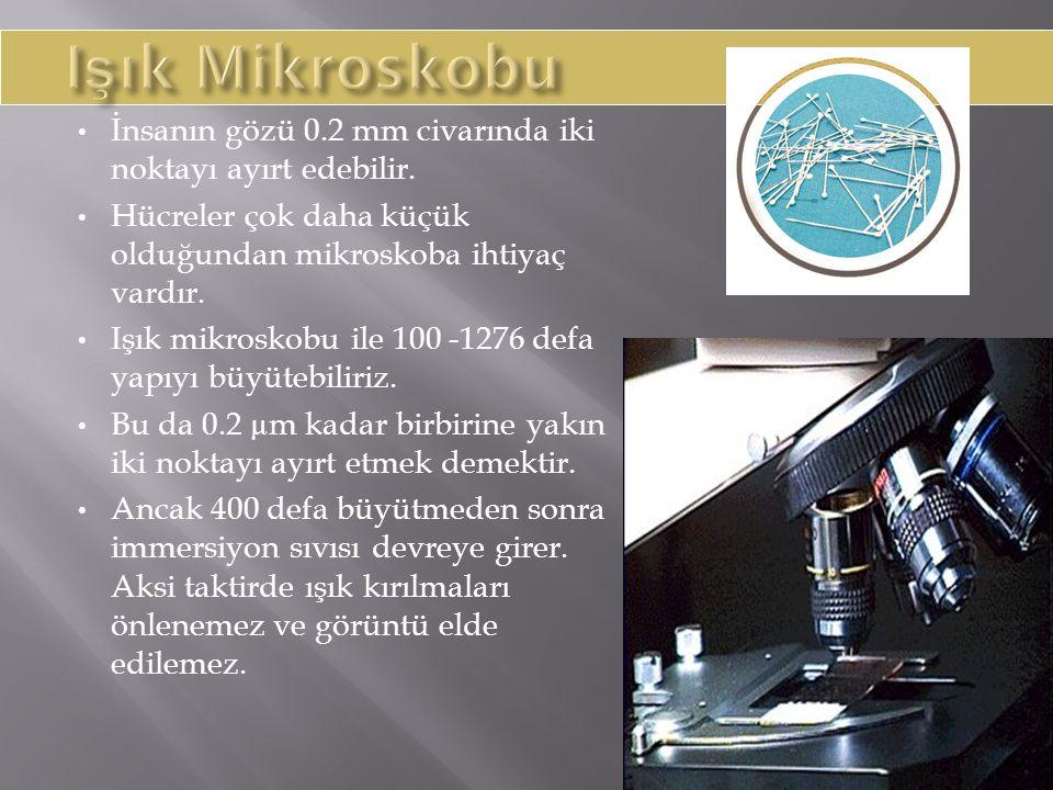Işık Mikroskobu İnsanın gözü 0.2 mm civarında iki noktayı ayırt edebilir. Hücreler çok daha küçük olduğundan mikroskoba ihtiyaç vardır.