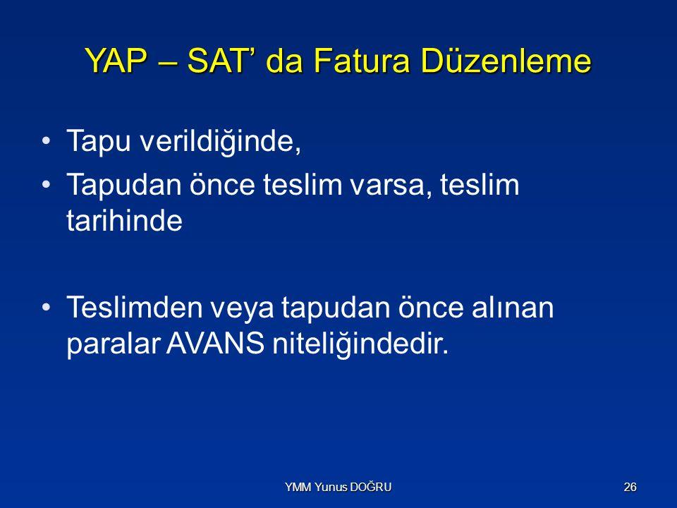 YAP – SAT' da Fatura Düzenleme