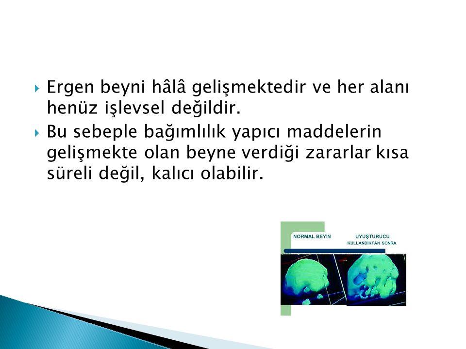 Ergen beyni hâlâ gelişmektedir ve her alanı henüz işlevsel değildir.