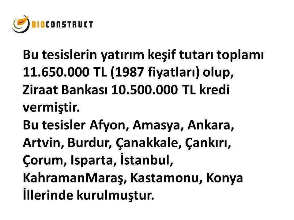 Bu tesislerin yatırım keşif tutarı toplamı 11. 650