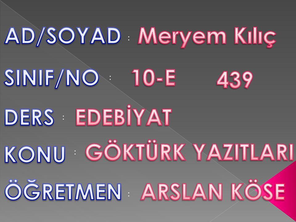 AD/SOYAD Meryem Kılıç SINIF/NO 10-E 439 DERS EDEBİYAT