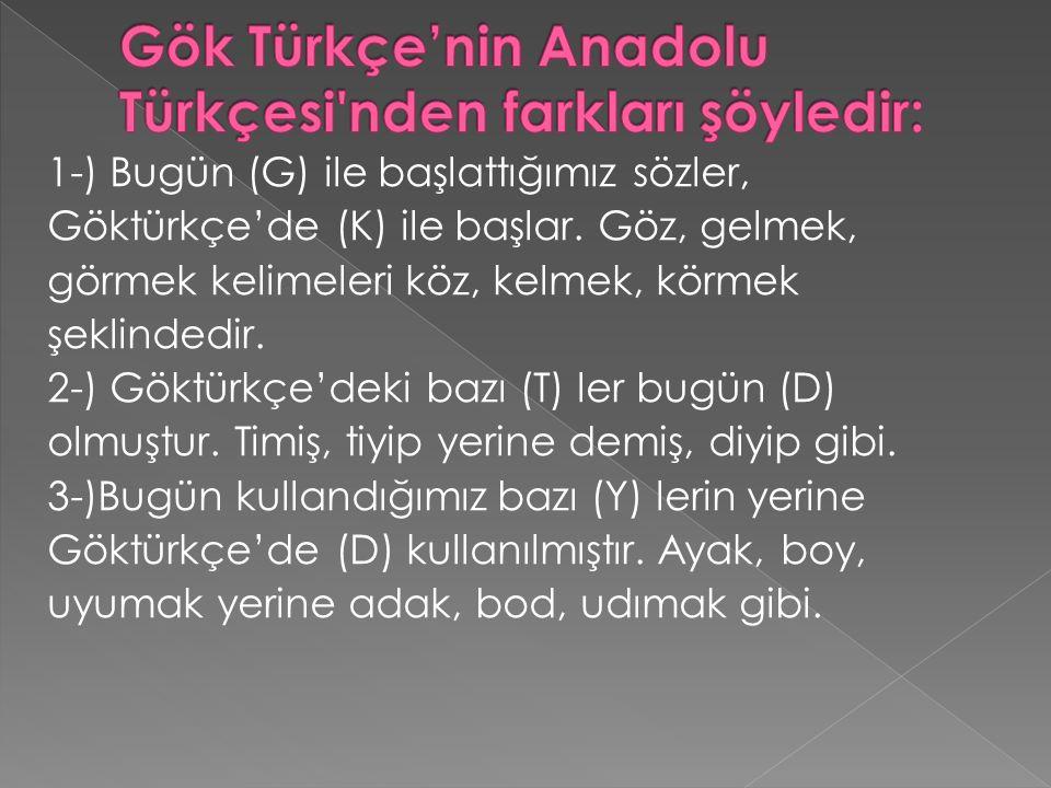Gök Türkçe'nin Anadolu Türkçesi nden farkları şöyledir: