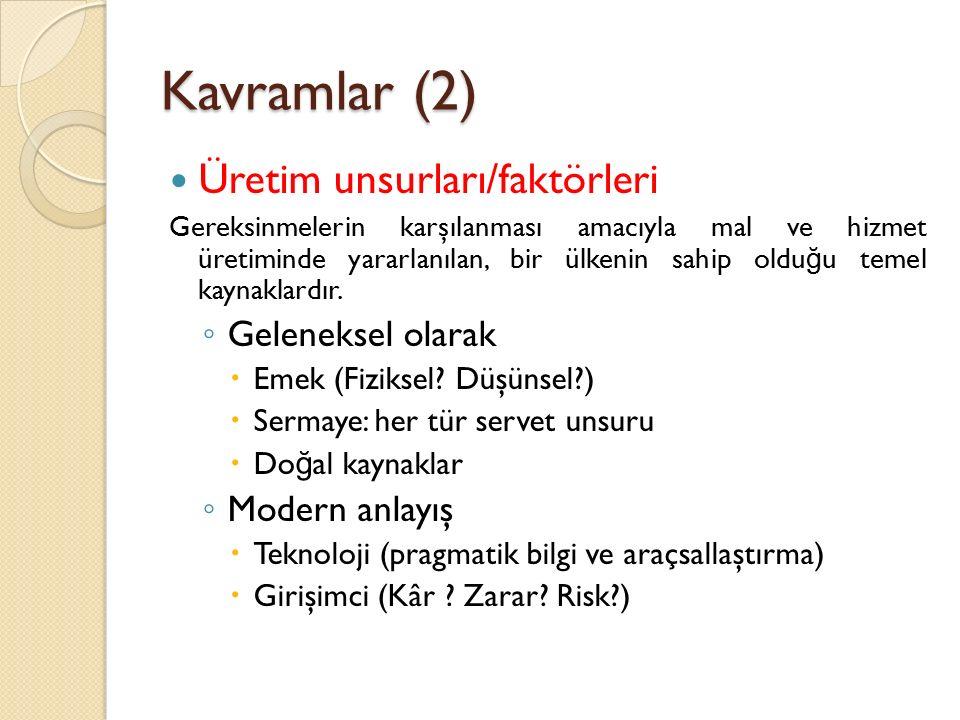 Kavramlar (2) Üretim unsurları/faktörleri Geleneksel olarak