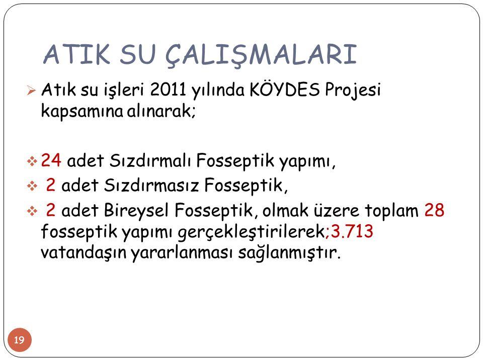 ATIK SU ÇALIŞMALARI Atık su işleri 2011 yılında KÖYDES Projesi kapsamına alınarak; 24 adet Sızdırmalı Fosseptik yapımı,
