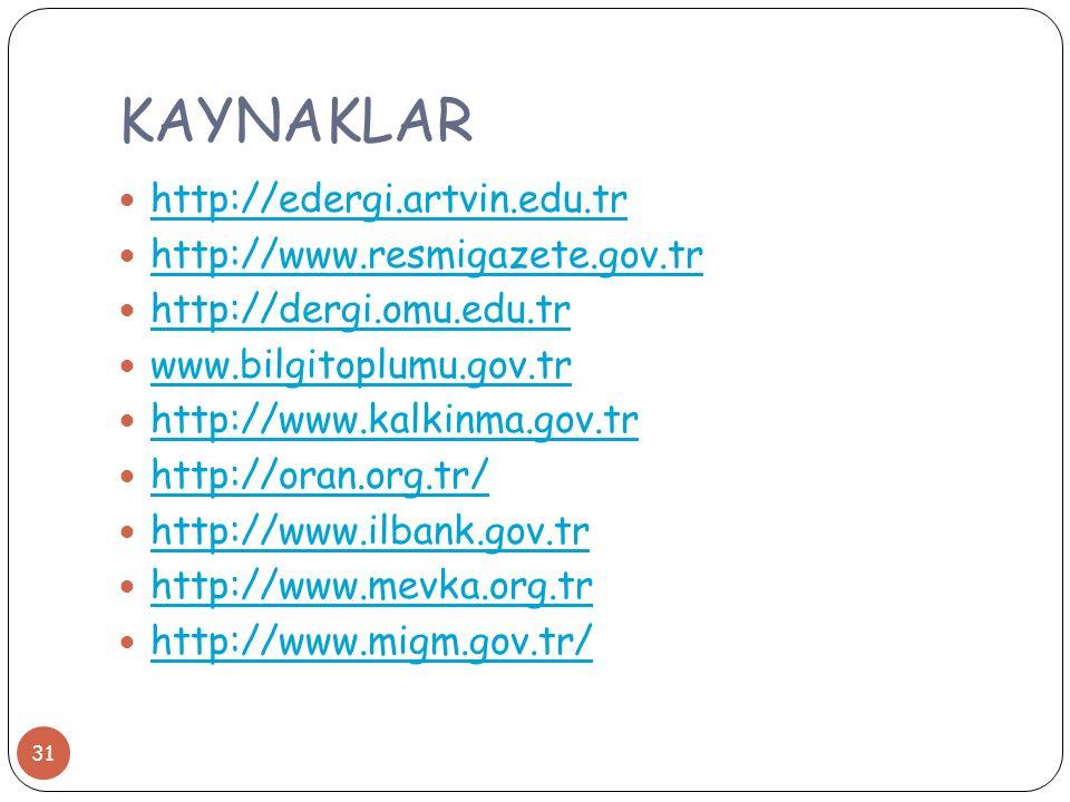KAYNAKLAR http://edergi.artvin.edu.tr http://www.resmigazete.gov.tr