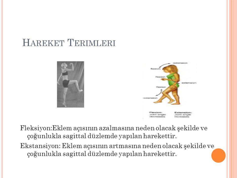 Hareket Terimleri Fleksiyon:Eklem açısının azalmasına neden olacak şekilde ve çoğunlukla sagittal düzlemde yapılan harekettir.