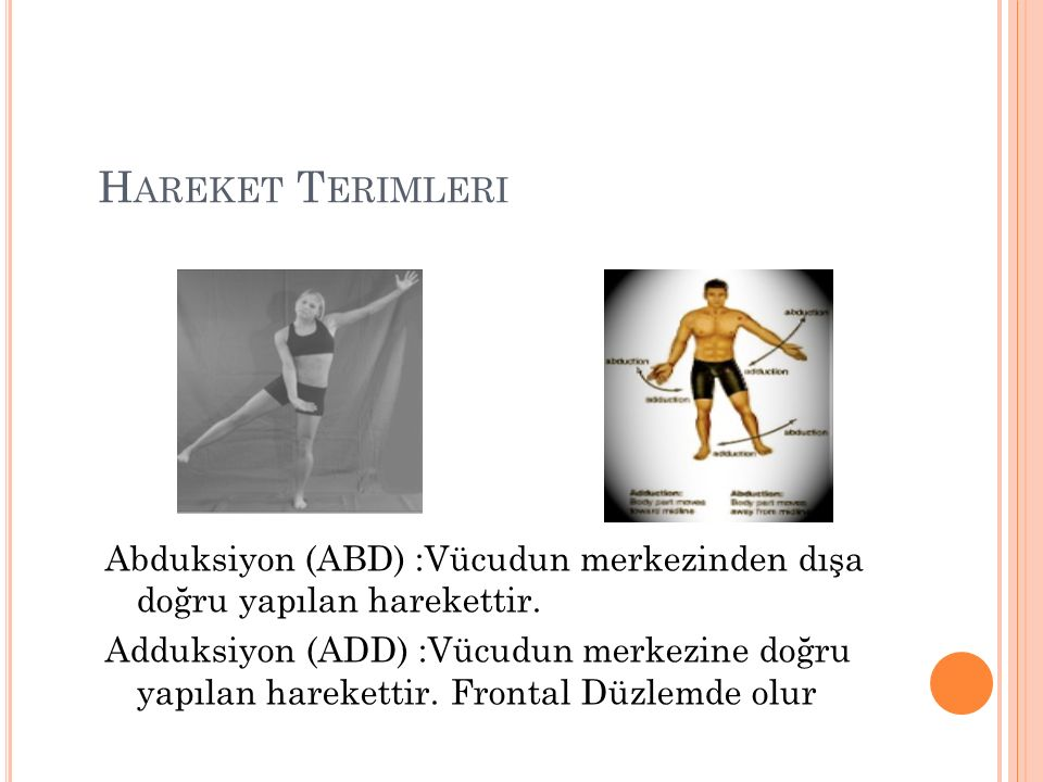 Hareket Terimleri Abduksiyon (ABD) :Vücudun merkezinden dışa doğru yapılan harekettir.