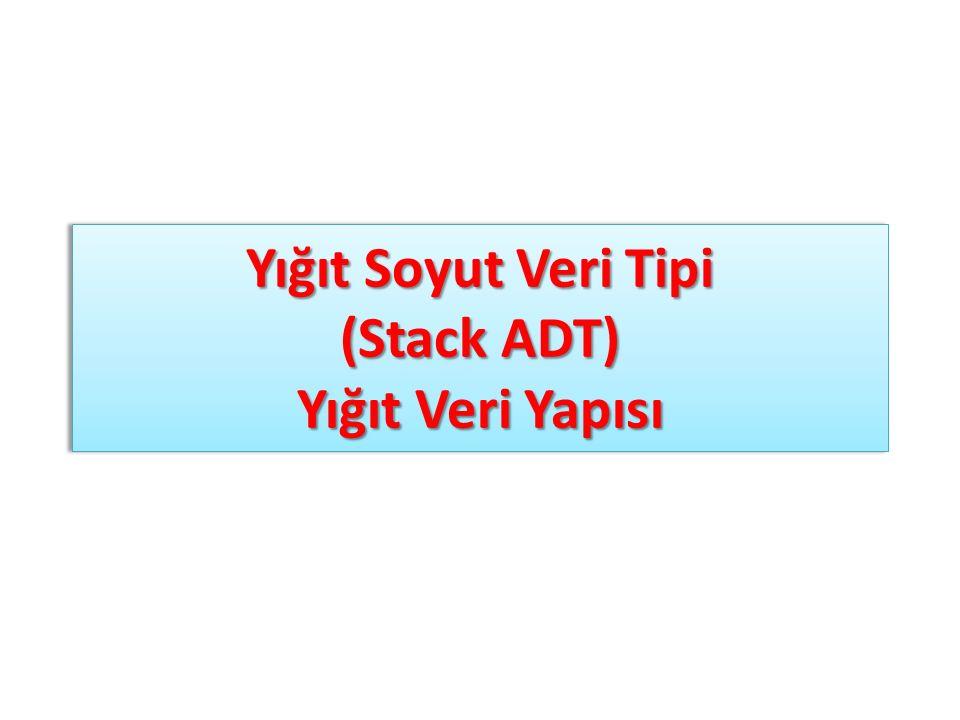 Yığıt Soyut Veri Tipi (Stack ADT) Yığıt Veri Yapısı