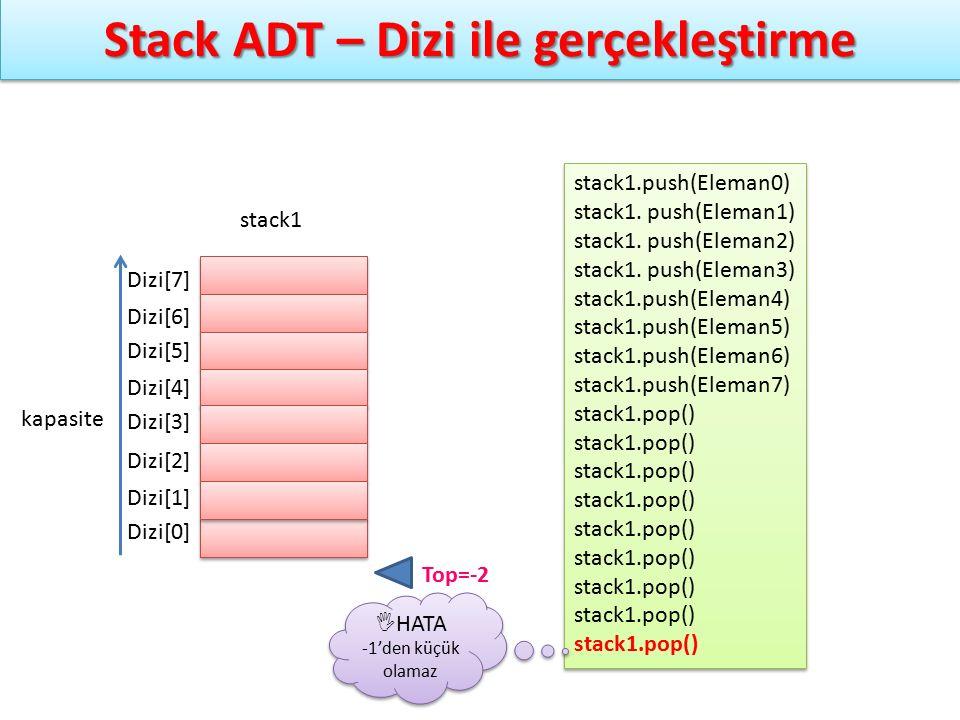 Stack ADT – Dizi ile gerçekleştirme