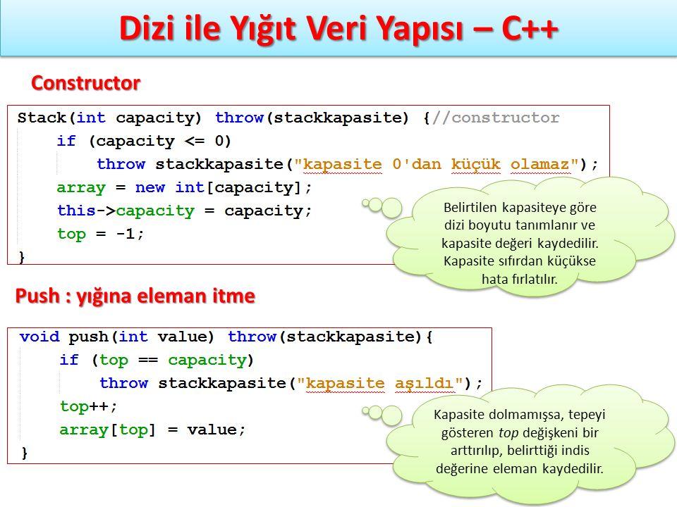 Dizi ile Yığıt Veri Yapısı – C++