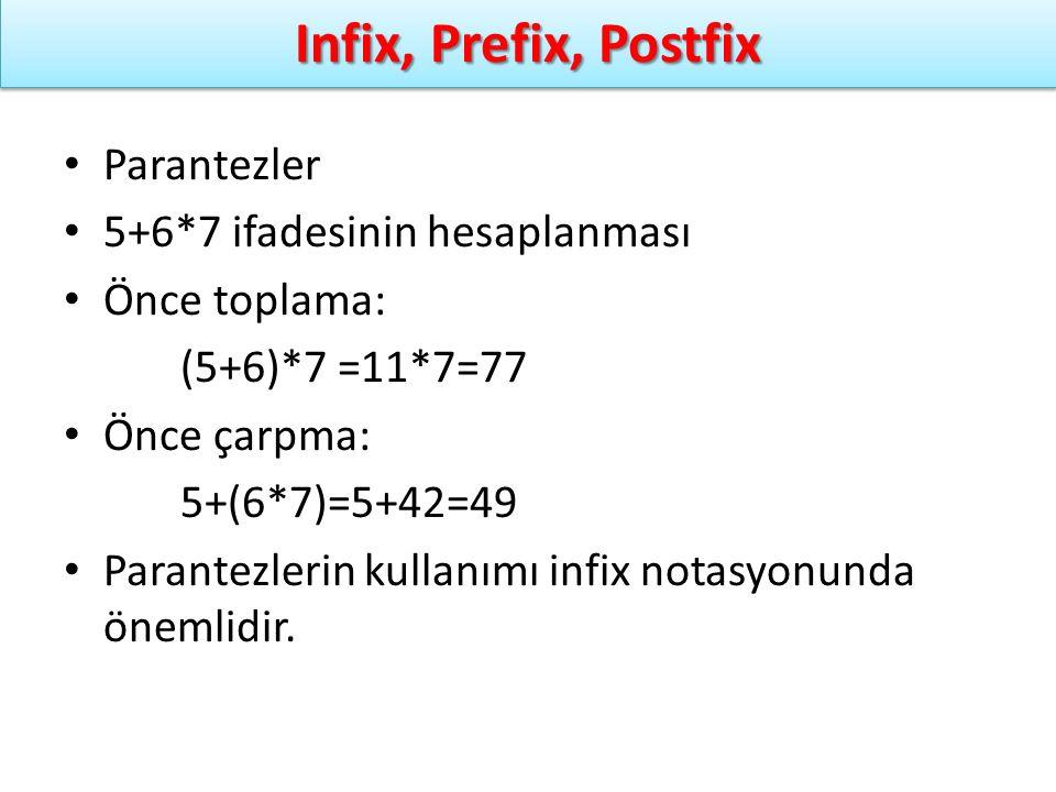 Infix, Prefix, Postfix Parantezler 5+6*7 ifadesinin hesaplanması