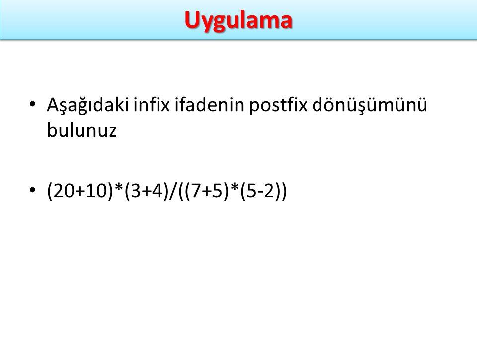 Uygulama Aşağıdaki infix ifadenin postfix dönüşümünü bulunuz