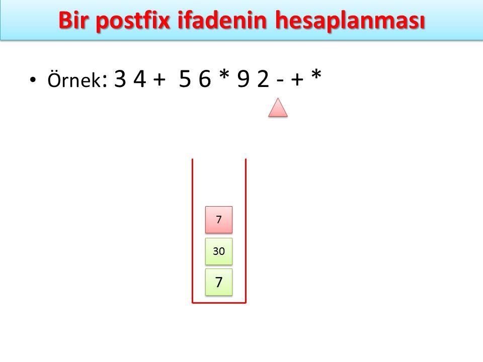 Bir postfix ifadenin hesaplanması