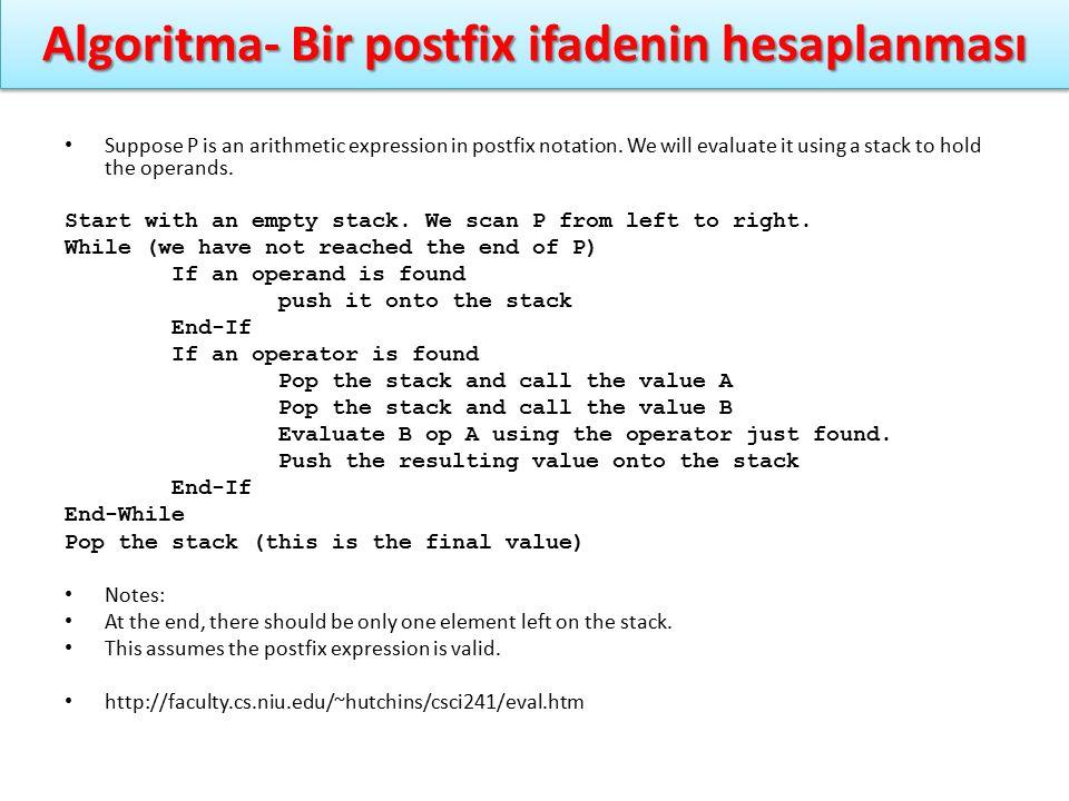 Algoritma- Bir postfix ifadenin hesaplanması