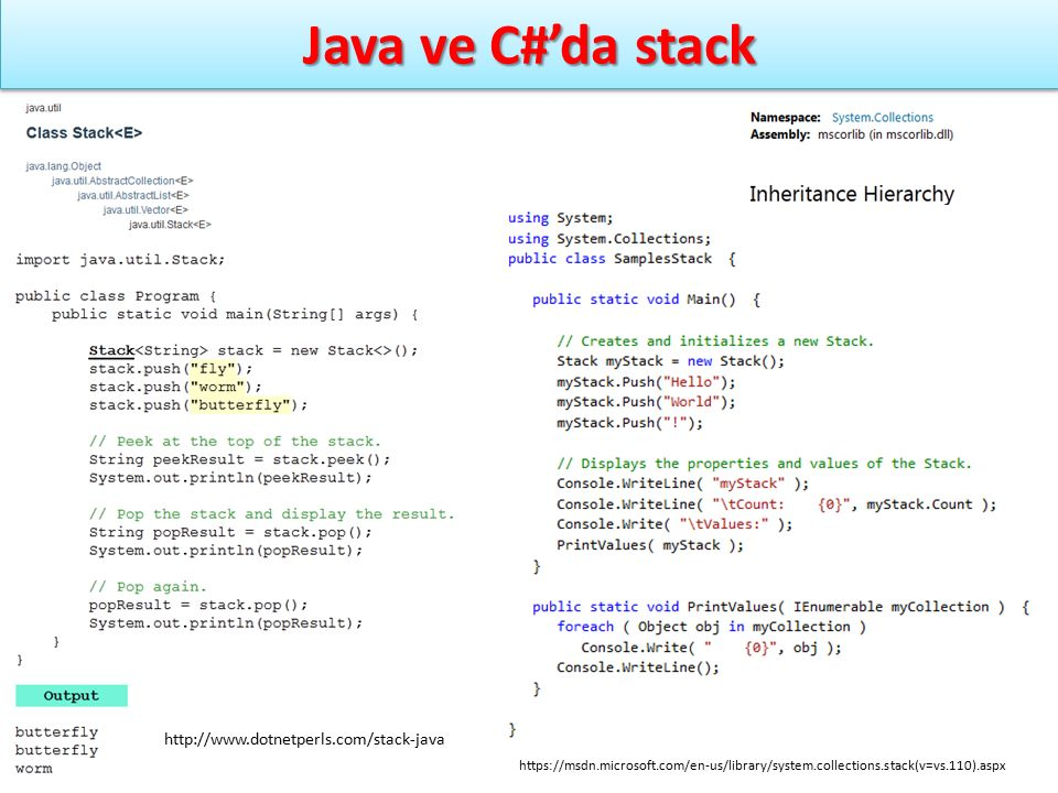 Java ve C#'da stack http://www.dotnetperls.com/stack-java