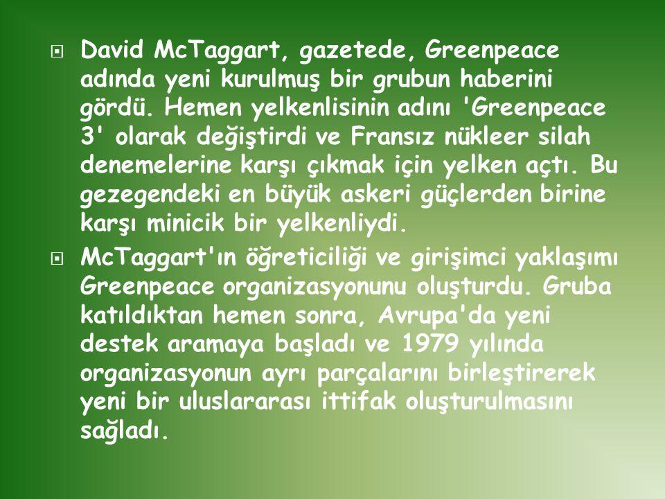 David McTaggart, gazetede, Greenpeace adında yeni kurulmuş bir grubun haberini gördü. Hemen yelkenlisinin adını Greenpeace 3 olarak değiştirdi ve Fransız nükleer silah denemelerine karşı çıkmak için yelken açtı. Bu gezegendeki en büyük askeri güçlerden birine karşı minicik bir yelkenliydi.