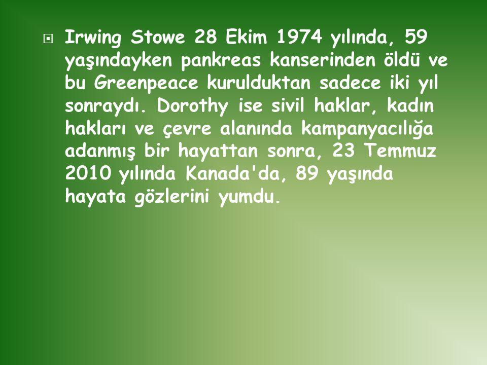 Irwing Stowe 28 Ekim 1974 yılında, 59 yaşındayken pankreas kanserinden öldü ve bu Greenpeace kurulduktan sadece iki yıl sonraydı.