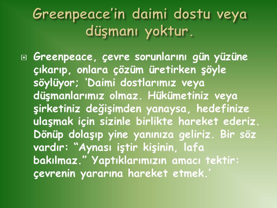 Greenpeace'in daimi dostu veya düşmanı yoktur.