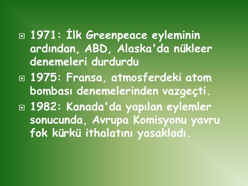 1971: İlk Greenpeace eyleminin ardından, ABD, Alaska da nükleer denemeleri durdurdu