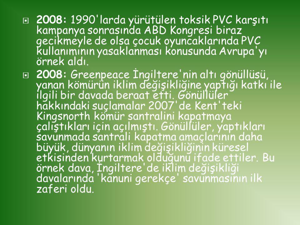2008: 1990 larda yürütülen toksik PVC karşıtı kampanya sonrasında ABD Kongresi biraz gecikmeyle de olsa çocuk oyuncaklarında PVC kullanımının yasaklanması konusunda Avrupa yı örnek aldı.