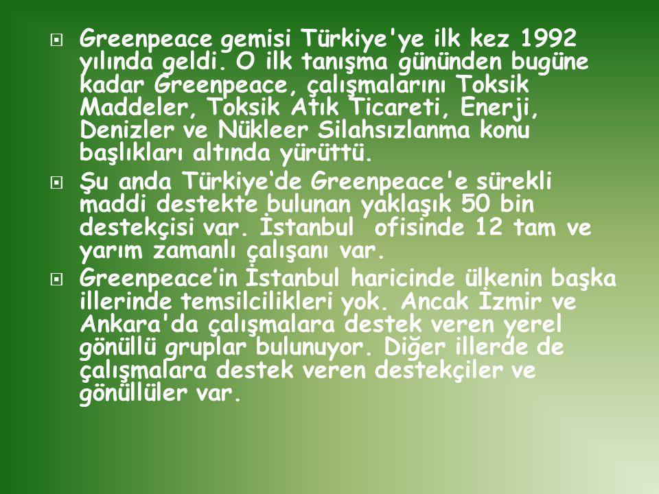 Greenpeace gemisi Türkiye ye ilk kez 1992 yılında geldi