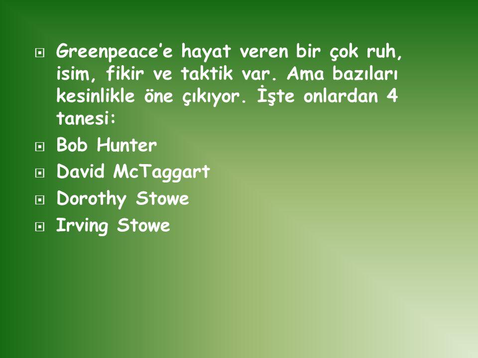 Greenpeace'e hayat veren bir çok ruh, isim, fikir ve taktik var