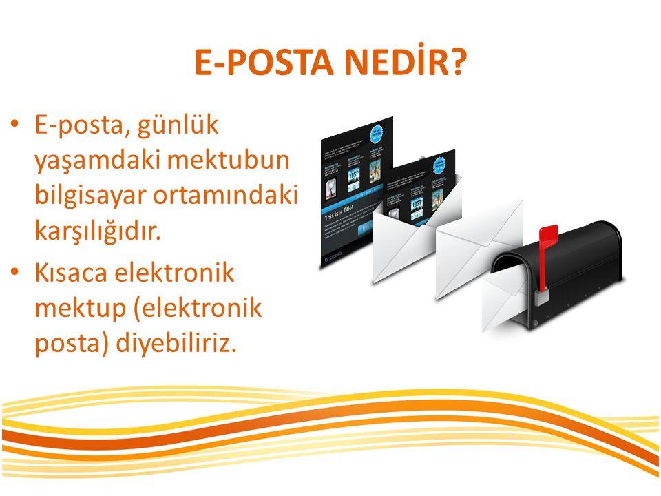 E-POSTA NEDİR. E-posta, günlük yaşamdaki mektubun bilgisayar ortamındaki karşılığıdır.