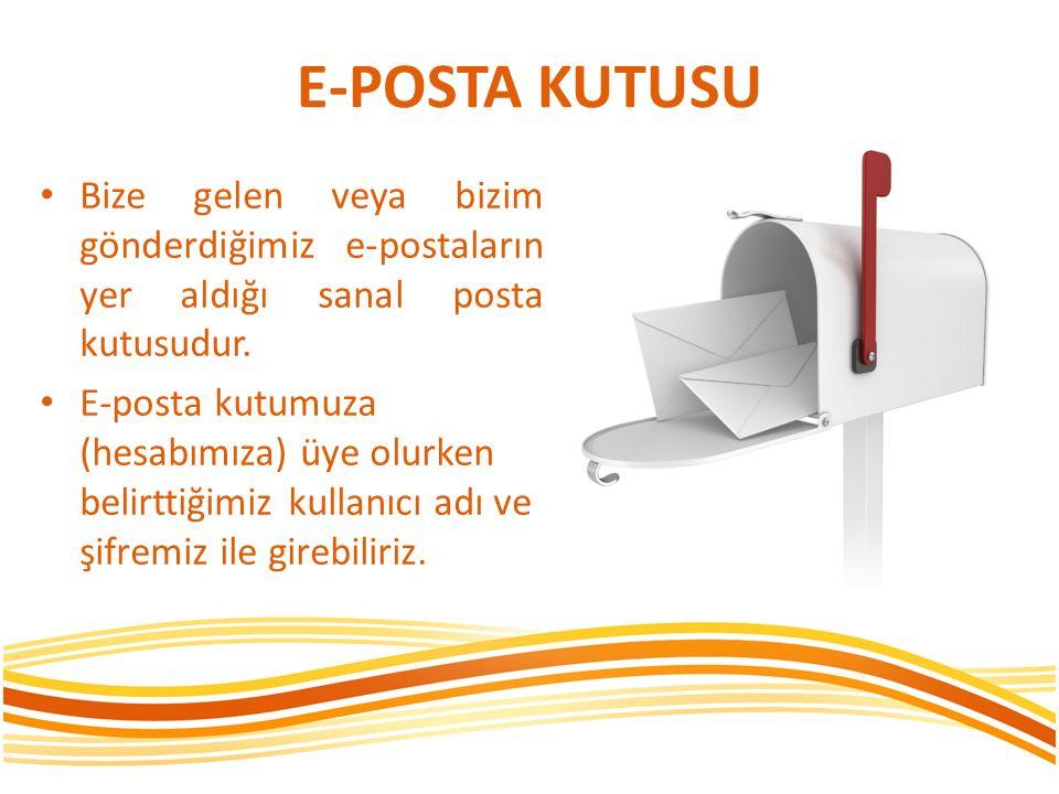 E-POSTA KUTUSU Bize gelen veya bizim gönderdiğimiz e-postaların yer aldığı sanal posta kutusudur.