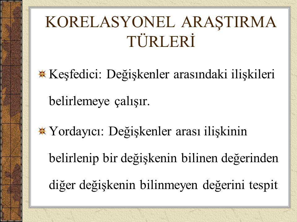 KORELASYONEL ARAŞTIRMA TÜRLERİ