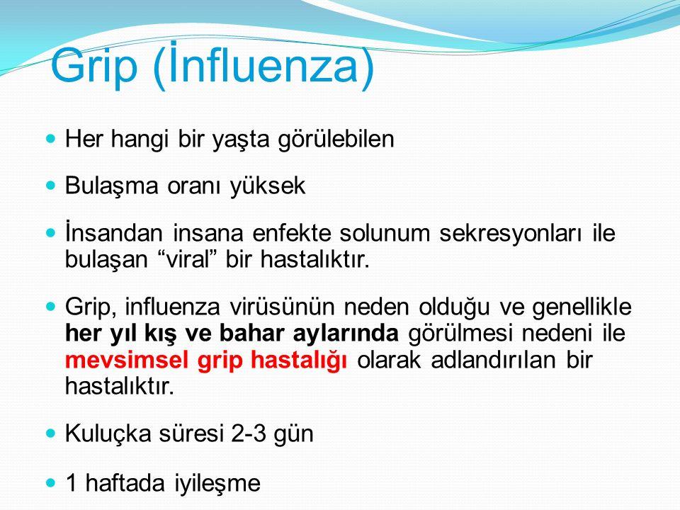 Grip (İnfluenza) Her hangi bir yaşta görülebilen Bulaşma oranı yüksek