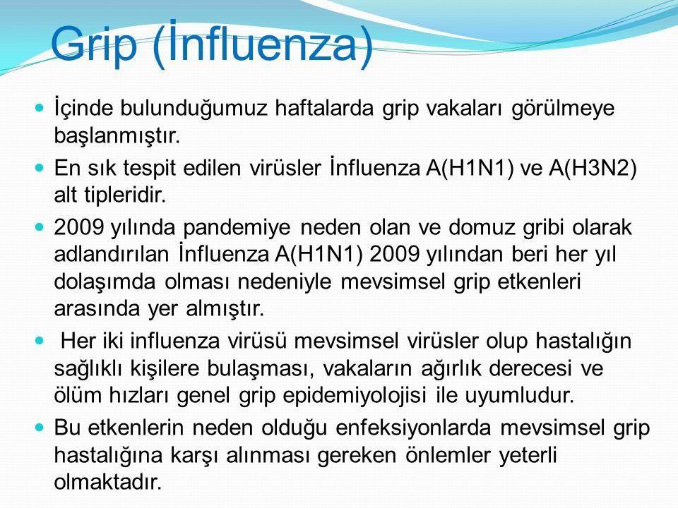 Grip (İnfluenza) İçinde bulunduğumuz haftalarda grip vakaları görülmeye başlanmıştır.