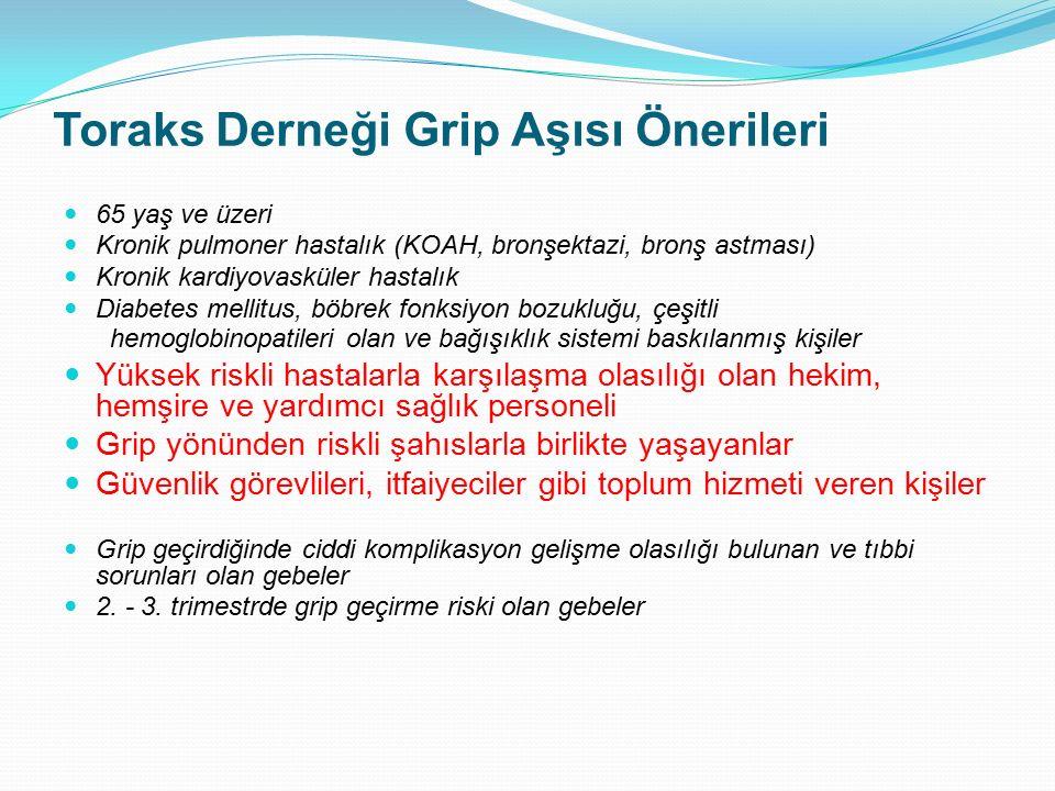 Toraks Derneği Grip Aşısı Önerileri