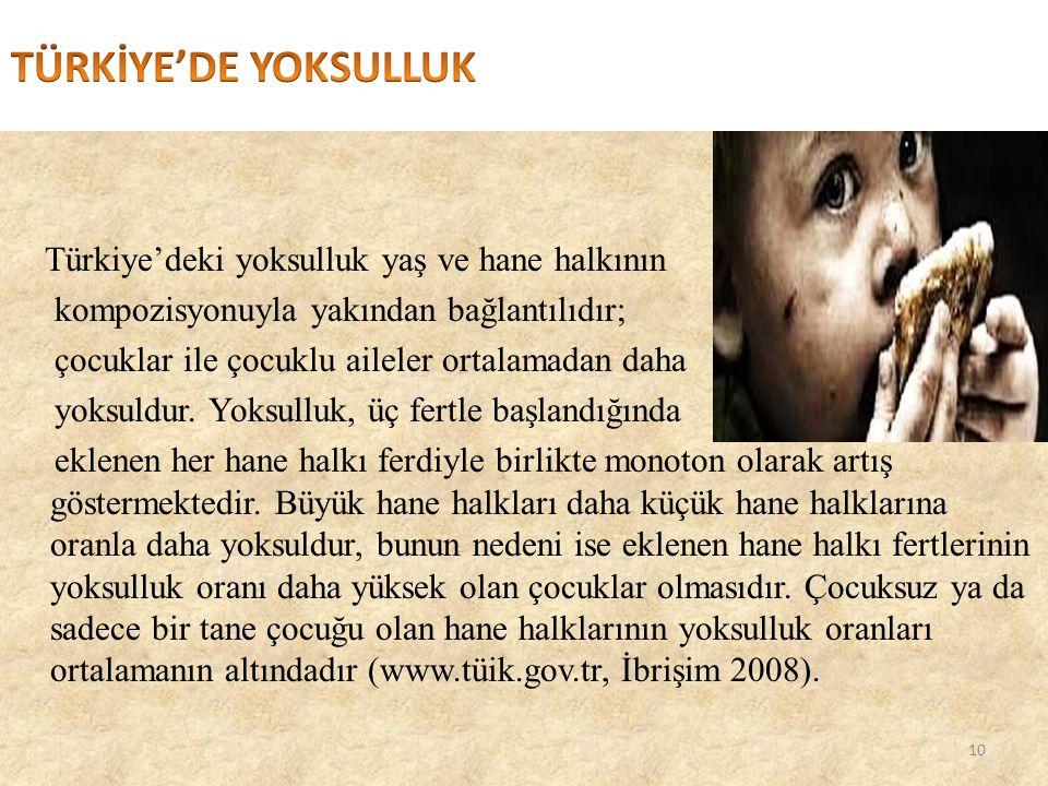 TÜRKİYE'DE YOKSULLUK Türkiye'deki yoksulluk yaş ve hane halkının