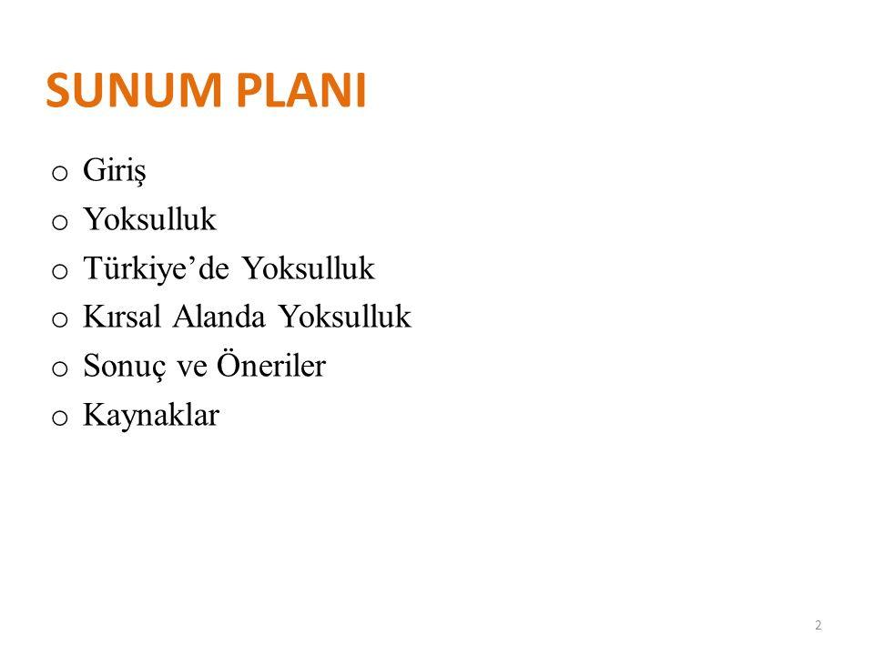 SUNUM PLANI Giriş Yoksulluk Türkiye'de Yoksulluk