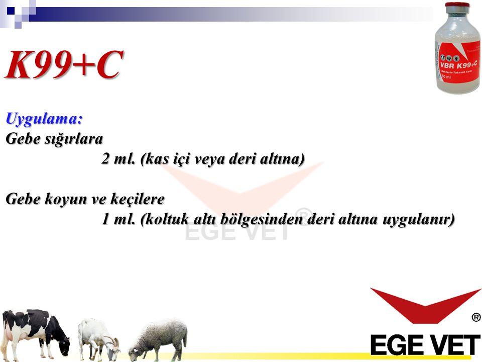 K99+C Uygulama: Gebe sığırlara 2 ml. (kas içi veya deri altına)