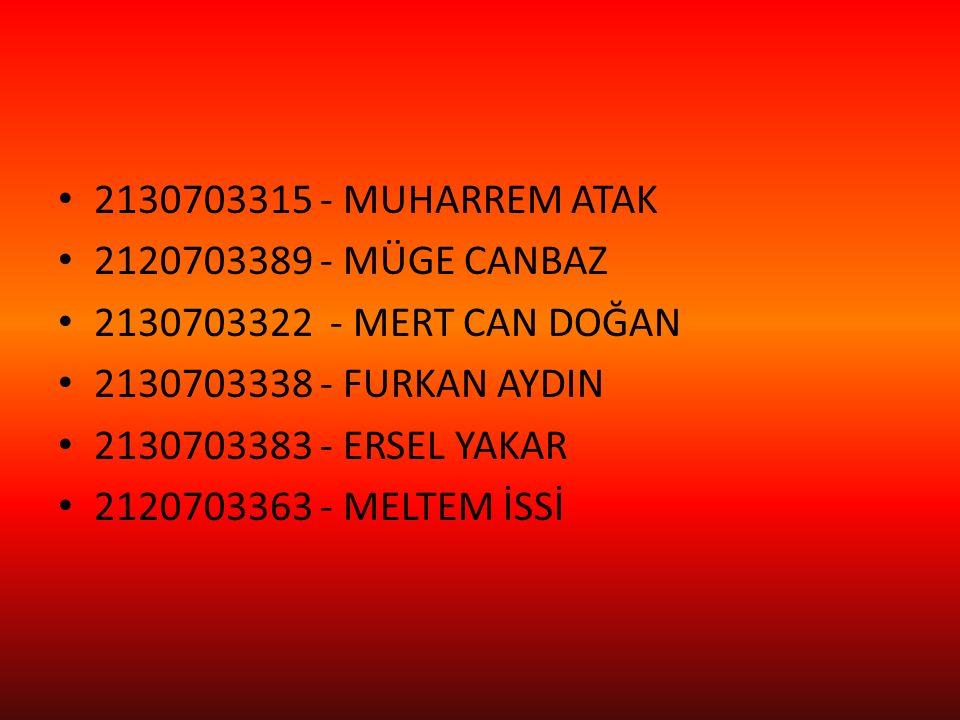 2130703315 - MUHARREM ATAK 2120703389 - MÜGE CANBAZ. 2130703322 - MERT CAN DOĞAN. 2130703338 - FURKAN AYDIN.