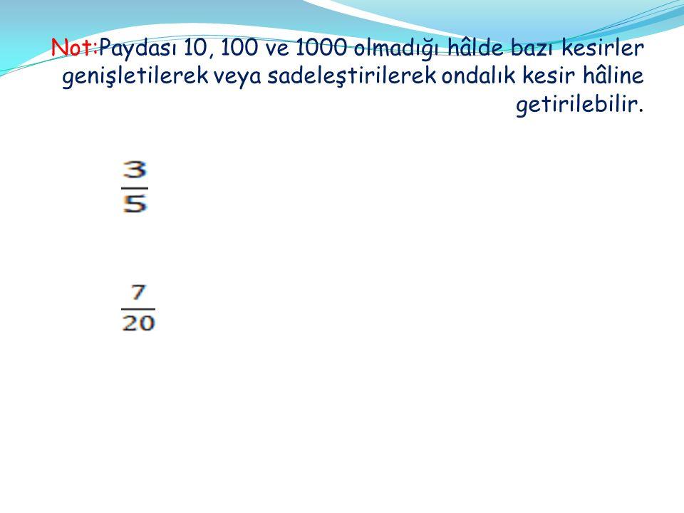 Not:Paydası 10, 100 ve 1000 olmadığı hâlde bazı kesirler genişletilerek veya sadeleştirilerek ondalık kesir hâline getirilebilir.