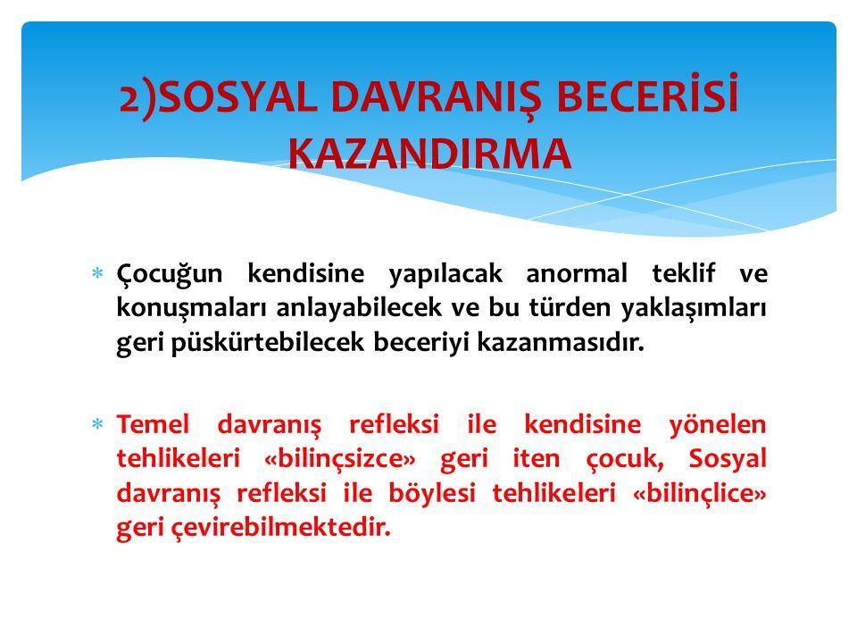 2)SOSYAL DAVRANIŞ BECERİSİ KAZANDIRMA