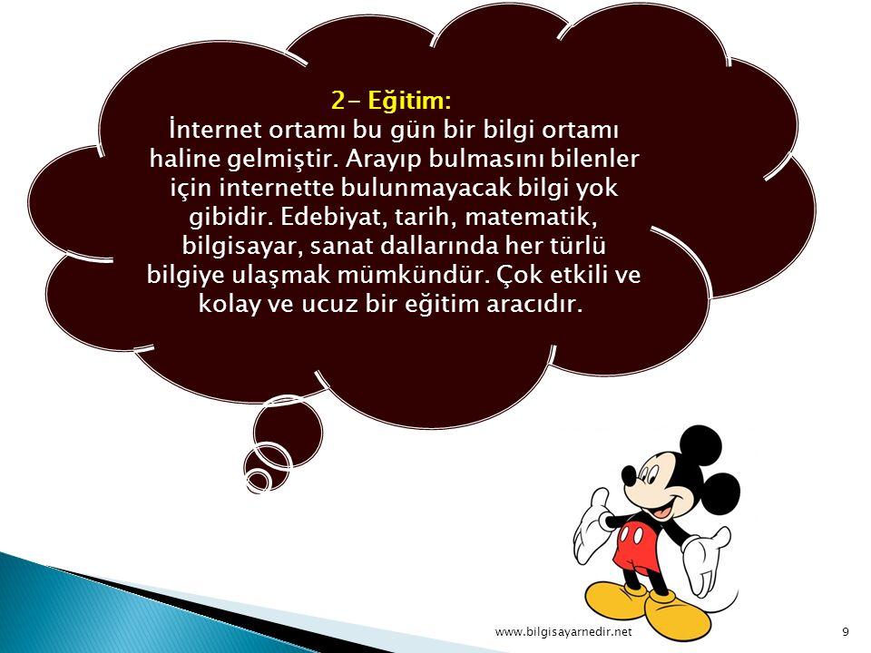 2- Eğitim: İnternet ortamı bu gün bir bilgi ortamı haline gelmiştir