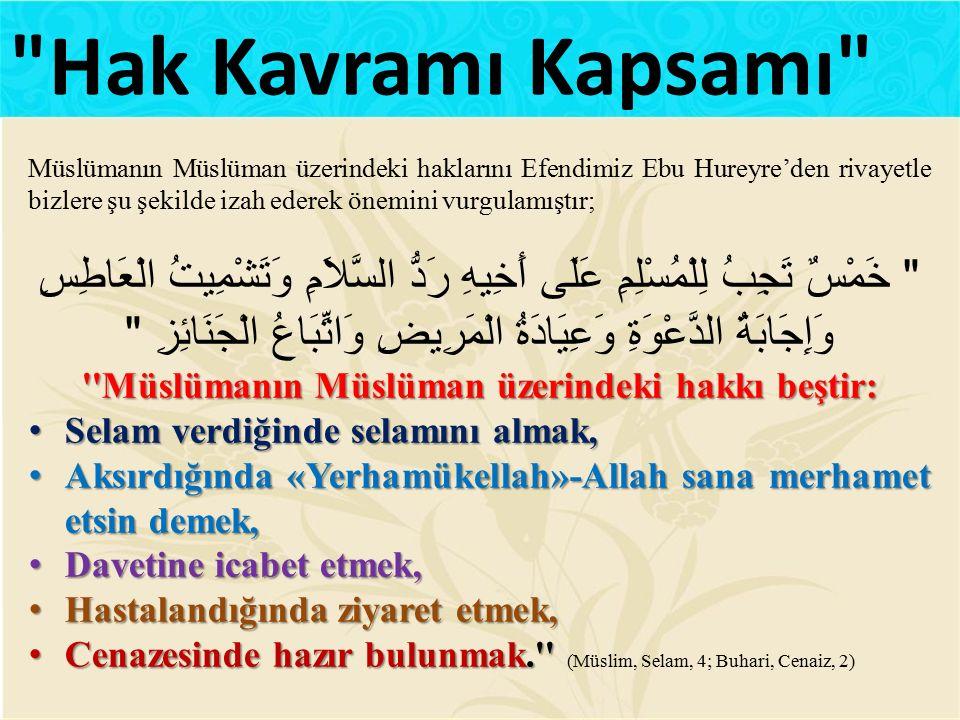 Müslümanın Müslüman üzerindeki hakkı beştir: