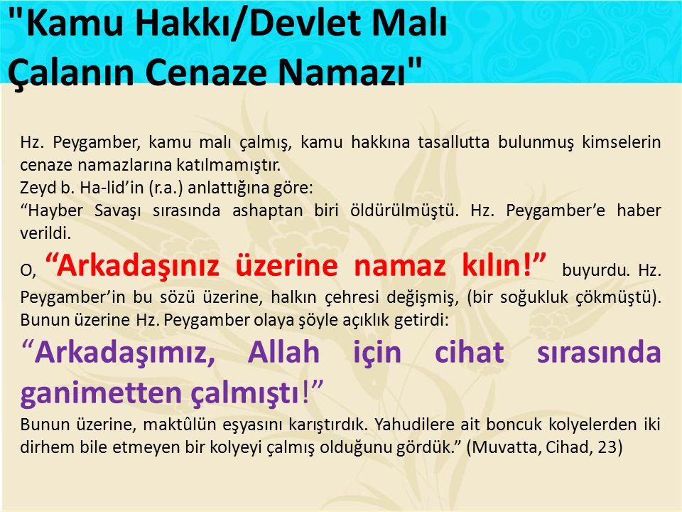 Kamu Hakkı/Devlet Malı Çalanın Cenaze Namazı