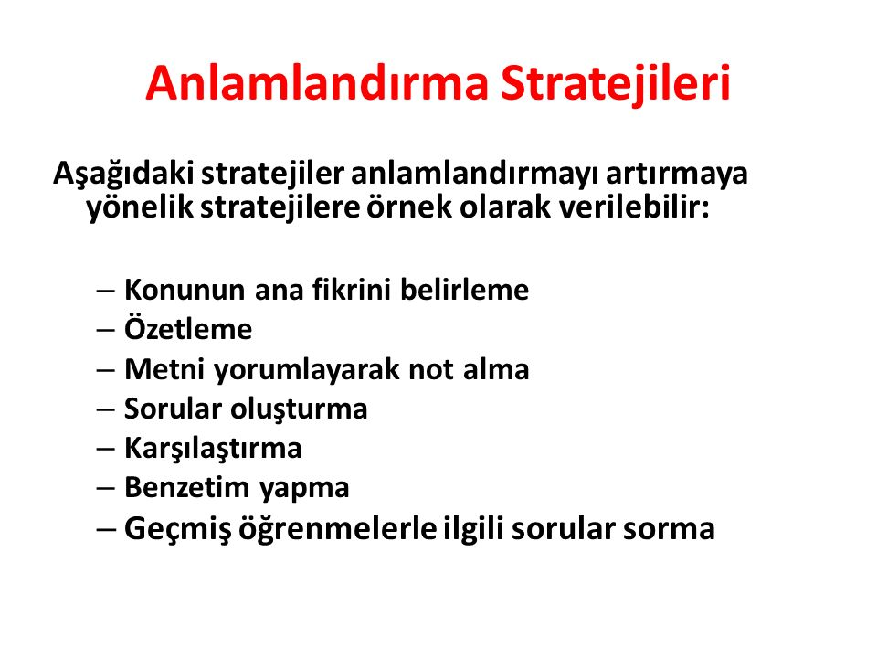 Anlamlandırma Stratejileri