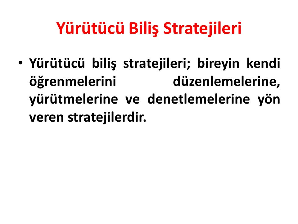 Yürütücü Biliş Stratejileri
