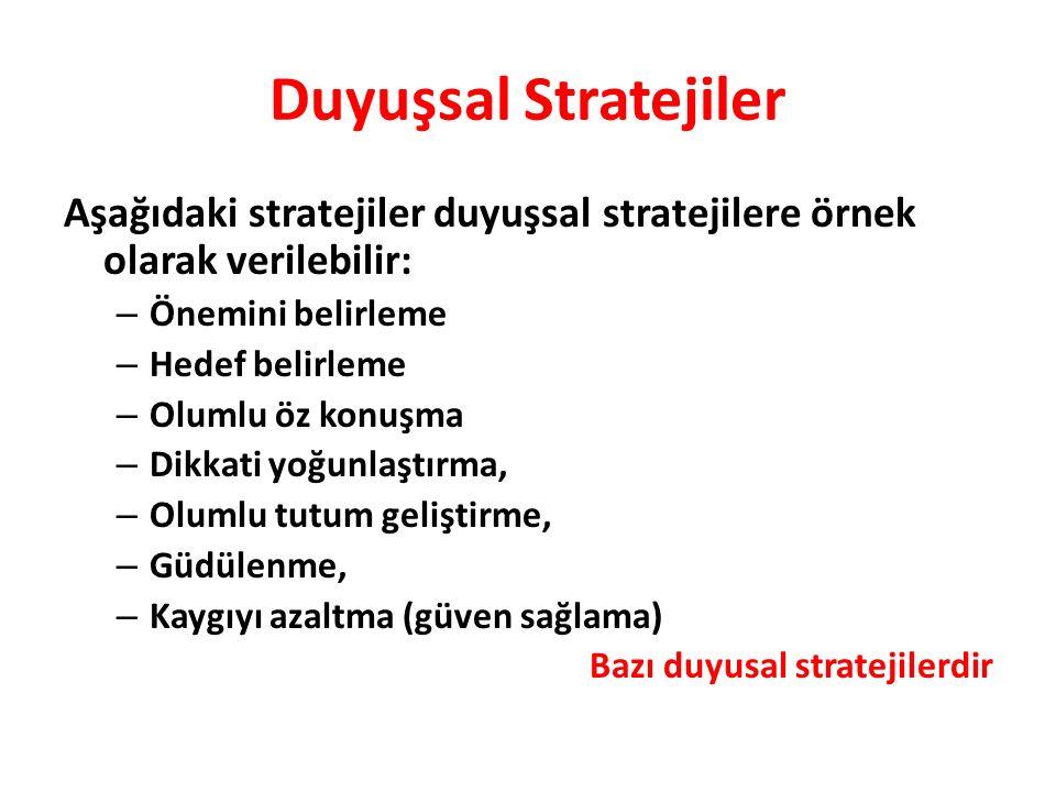 Duyuşsal Stratejiler Aşağıdaki stratejiler duyuşsal stratejilere örnek olarak verilebilir: Önemini belirleme.